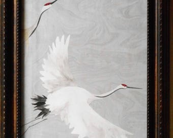 FLIGHT of the CRANES print picture art 8 x 10 framed birds