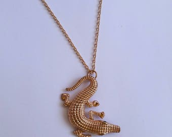 Gold Alligator Necklace, Crocodile Pendant Necklace, Dainty Chain Necklace, Animal Jewelry