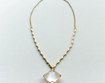 Quartz Crystal Necklace, Quartz and Gold Necklace, Clear Pyramid Quartz Necklace, Jewelry, Gold Link Chain Necklace, Quartz Pendant Necklace