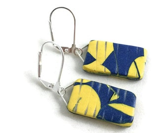 Blue and Yellow Dangle Earrings Small Rectangles Lightweight Clay artistic earrings