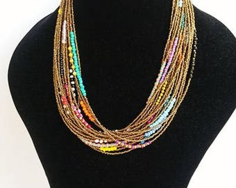 choker necklace - multilayer necklace - statement necklace - bohemian necklaces - multi row necklaces - handmade necklaces -golden necklaces
