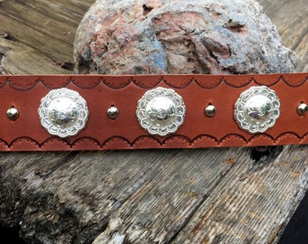 Bracelet Hand-Stamped 3 Concho Leather Cuff Tsalagi Cherokee Made
