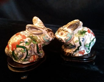 Rabbits Pair Cloisonne Enamel on Stands Vintage Chinese