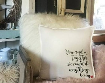 Pillow cover . You and me together . DMB.  Cushion cover . 20x20. Decorative pillow . Couples pillow. Home decor.