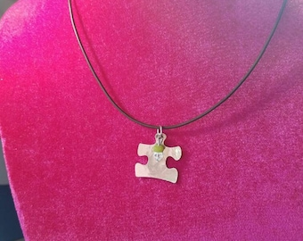 Genuine leather necklace. puzzle pendant.tiny cross engraved.sterling silver clasp.crystal stone bead