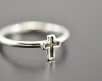 Tiny cross ring, Cross ring, Christian ring, Promise ring, Faith ring, Her gift, Sterling silver ring, Silver cross ring, Stacking rings