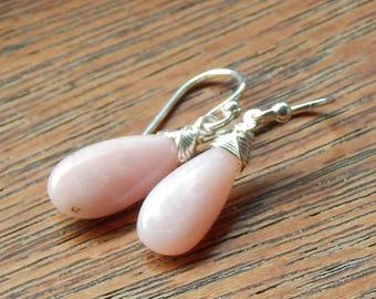 Pink Opal Earrings,Peruvian Opal Earrings,Wire Wrapped Pink Peruvian Opal,Smooth Briolette opal earrings,October Birthday Gift,Opal Jewelry