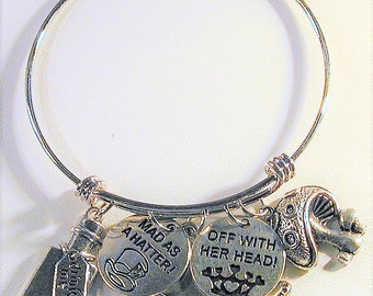 Alice in Wonderland Bangle Charm Bracelet