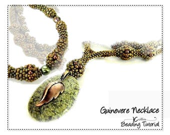 Beading Patterns, Instructions, Tutorials, Cubic Right Angle Weave, CRAW Double Strand, Necklace Instant Download Pattern GUINEVERE NECKLACE