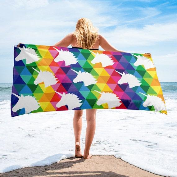 Unicorn Beach Towel for Anyone Rainbow Towel Gift