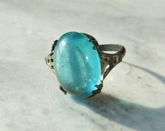 Vintage Silver Blue Stone Ring Size 5 3/4 - L