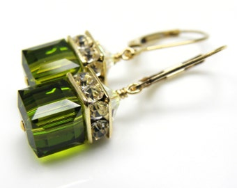 Gold Olive Earrings, Olive Green Swarovski Crystal Earrings, Cube Drop Earrings, Gold Filled Bridesmaid Earrings Autumn Wedding Jewelry Gift