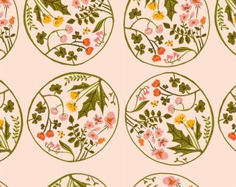 Windham Fabrics - Wreaths in Blush - Tiger Lily by Heather Ross - By The Yard