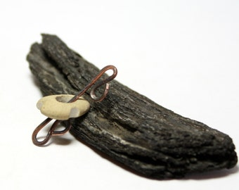 Wire Wrapped Pebble Focal Jewelry Supplies- Handcrafted Artisan Beach Stone Jewellery by Allybeans