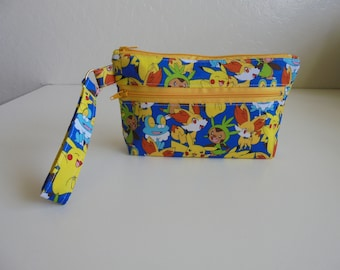Packed Pikachu, Wristlet, Cell phone Bag, Zippered pocket, clutch, coin purse, fabric, iPhone bag, Android Bag, clutch, credit cards pocket