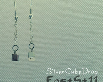 Silver Cube Drop Earring