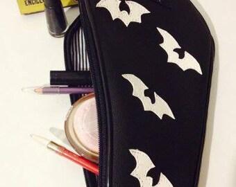 Bat make up pouch black n white