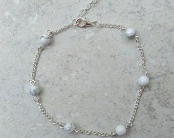 Chain bracelet, anklet, white and silver chain, lithotherapiechic