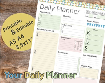 """Day planner Printable, Daily Planner Editable, Daily Organizer Printable, Day planner, 8.5""""x11"""" Planner Pages – Instant download PDF"""