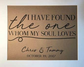 Personalized Print - I have found the one whom my soul loves - with first names and date