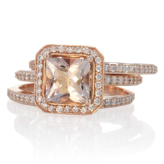 Rose Gold Morganite Ring Double Band Bridal Set 7mm Cushion