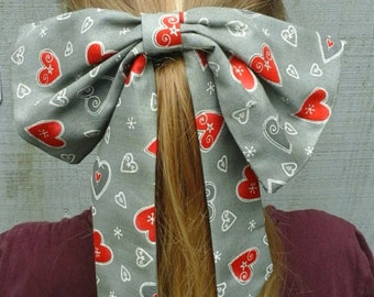 Hand sewn fabric girls hair bow clip or band