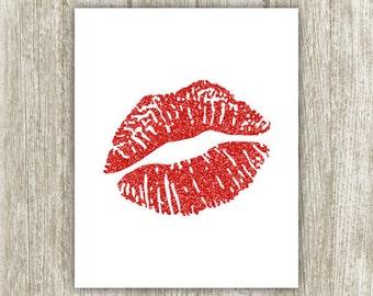 Red Lips Printable, Glitter Lips Wall Art, Lips Print, Red Lip Makeup Wall Decor, Digital Lips Art, 8x10 Instant Download, Red Kiss Print