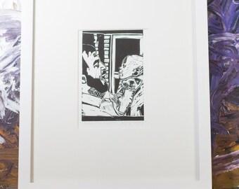 Father and Daughter Art Linocut Block Print