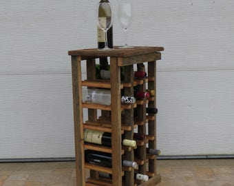 18 Bottle Rustic Wine Rack  Handmade, Reclaimed Wine Rack, Barn Wood, Wooden Wine Rack, Wood Wine Rack, Distressed Wood, Unique Wine Rack