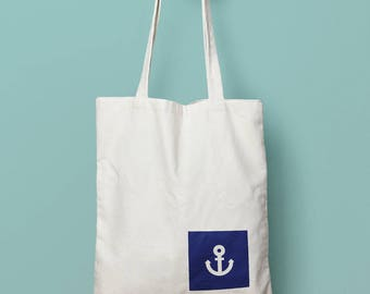 Hand painted tote bag anchor