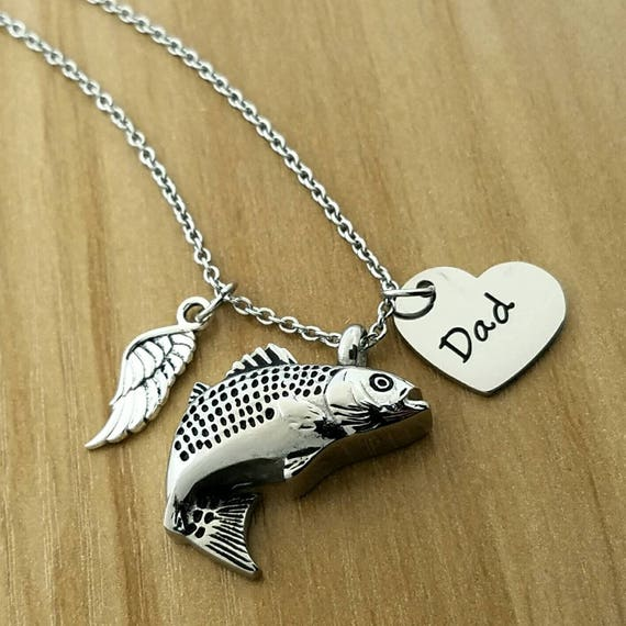 Fish urn necklace memorial jewelry cremation necklace fish for Fish cremation jewelry
