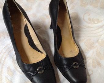 90s Black Round Toe Heels  Black Leather Pumps US 4 Europe 35 UK 2