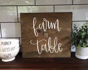 Farm To Table - Wood Sign