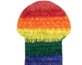 "Sale! Ready to Ship  2-D Rainbow Pecker Pinata 24"" Tall Gag Gifts LGBT"