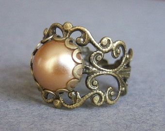 Camel Pearl Bronze Filigree Ring/Pearl Vintage Ring/Solitaire Pearl Ring/