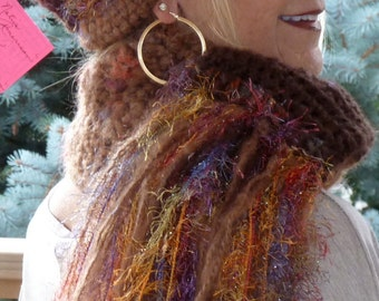 Brown crochet hat and scarf set, unique and original winter hat and scarf, women's winter fashions, Bohemian accessories, unique crochet