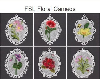 FSL Floral Cameos- Free Standing Lace Machine Embroidery Designs Instant Download 4x4 hoop 10 designs APE2280