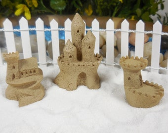 Miniature Sand Castles for Terrariums ~ Summer Beach Miniatures for Fairies ~ Tiny Beach Castles for Beach Garden ~ Fairy Accessories