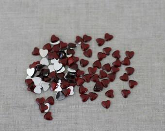 lot de 8mm Cabochons de Flatback strass coeur rouge -200
