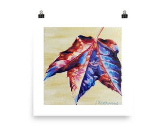 Violet and Red Maple Leaf Art Print Photo paper poster