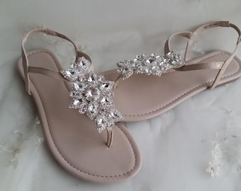 Ivory Wedding Sandals with Crystal Flower Ivory Bridal Sandals Destination Wedding Sandals Beach Wedding Sandals Beach Wedding Shoes