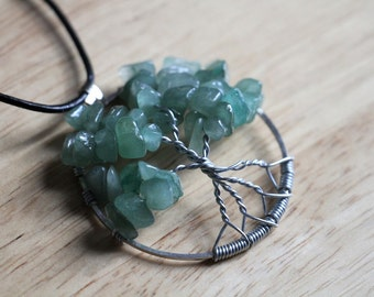 """Green Aventurine Tree of Life pendant / necklace - 45mm / 1.75"""" - with leather necklace"""