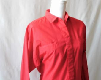 Vintage 1980s Here's a Hug Red Long Sleeve Button Up Shirt, Vintage Women's Button Down, Vintage Red Blouse, 1980s Red Women's Blouse