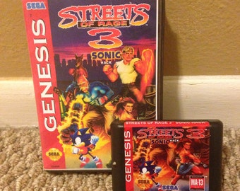 Streets of Rage 3 Sonic Hack Fan Made Custom Sega Genesis Game. 16bit