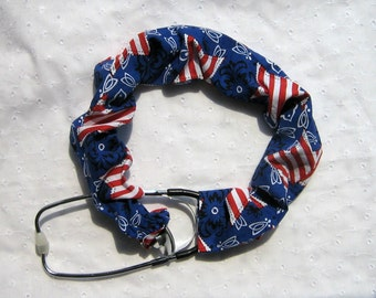 Stethoscope Cover or Sleeve Red White and Blue Patriotic