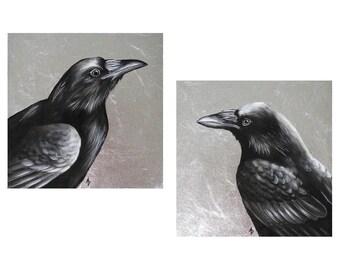 Raven paintings PAIR - corvid painting in black and white - metallic silver - black bird - dark wings dark words - nevermore raven painting