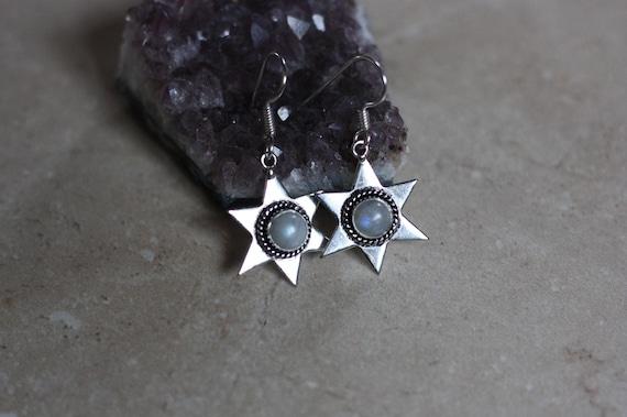 MOONSTONE STAR EARRINGS - Oxodised Silver Earrings - Moonstone - Healing Crystal Jewellery - Chakra Earrings - Boho - Vintage - Festival