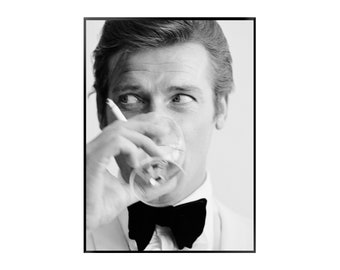 Photography, Roger Moore, James Bond, Black and White, Portrait, Wall art, Print, Poster, Instant Download