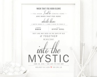 "Van Morrison ""Into The Mystic"" - Grey and Blush - Valentine's, Wedding Gift, Paper Anniversary Gift, Song Lyrics, Art Print"