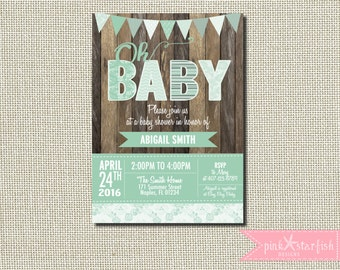 Baby Shower Invitation, Rustic Baby Shower Invitation, Shabby Chic Baby Shower Invitation, Shabby Chic Invitation, Burlap, Green, Baby Boy